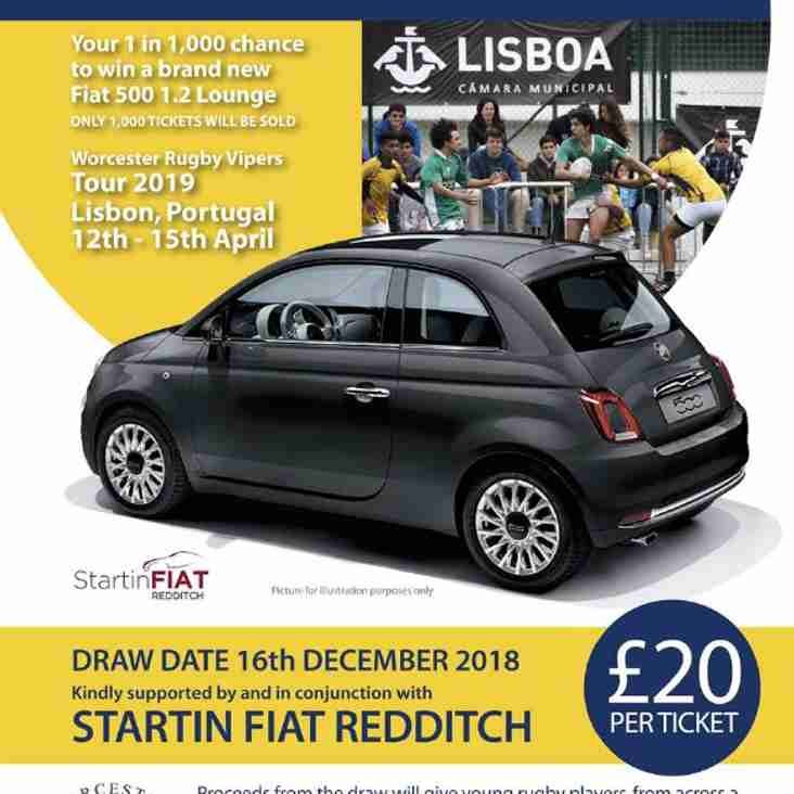 Win a Brand New Fiat 500. Raffle tickets available this Saturday and Sunday