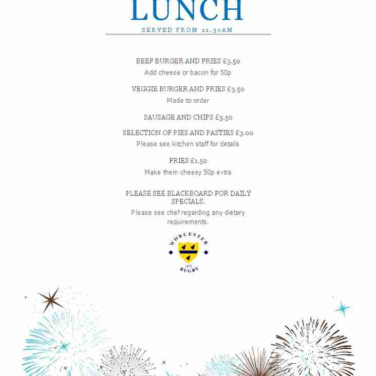 New Sunday Lunch Menu for WRFC