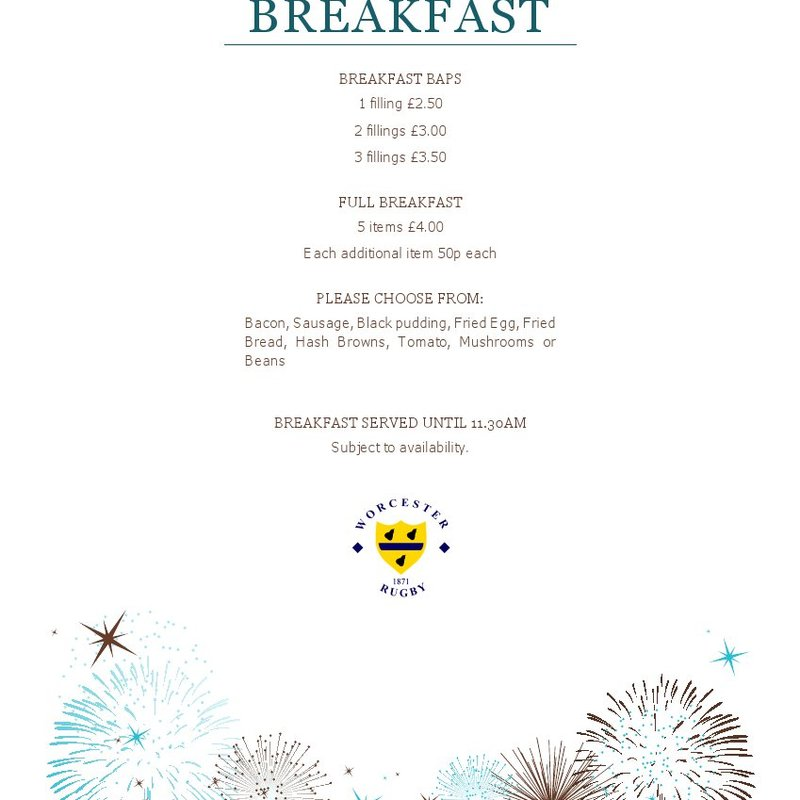 Great New Menu for Sunday Breakfast