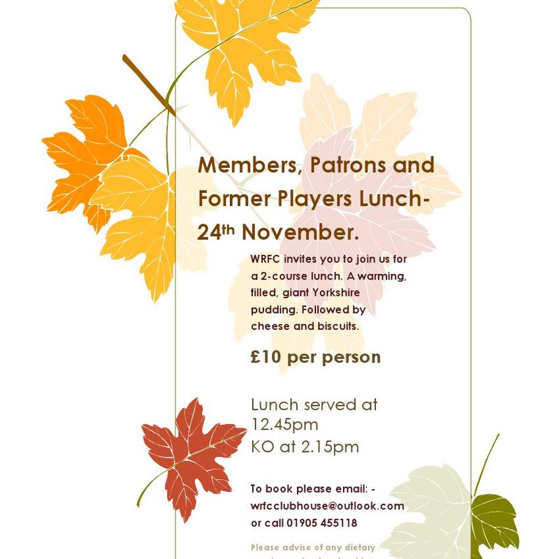 Members, Patrons and Former Players Lunch-24th November