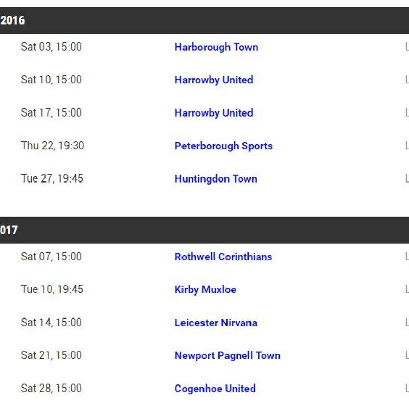 Festive First Team Fixtures...