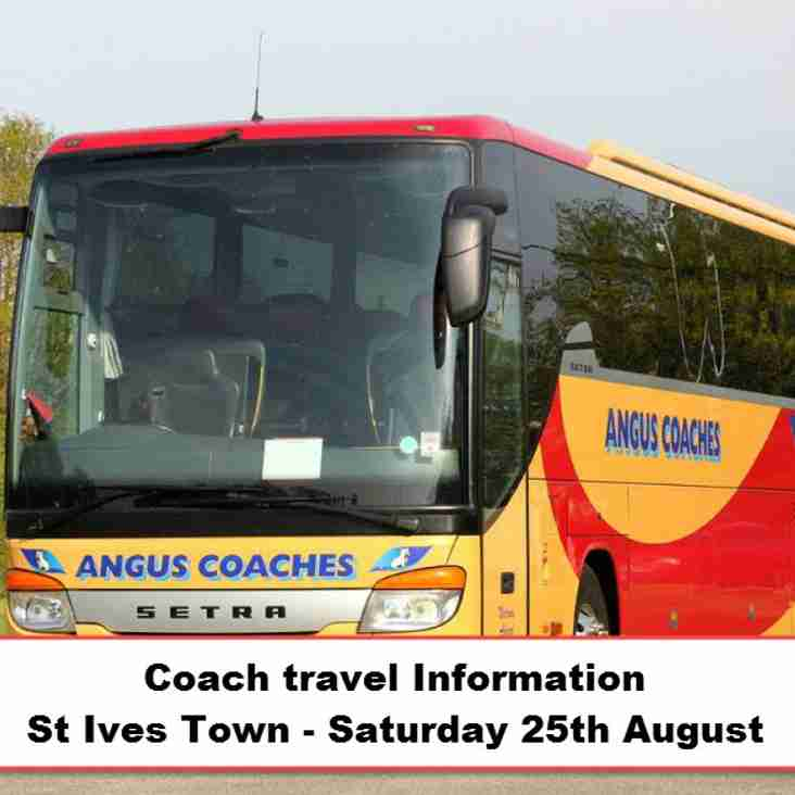Coach travel to St Ives Town on Saturday 25th August – Seats available