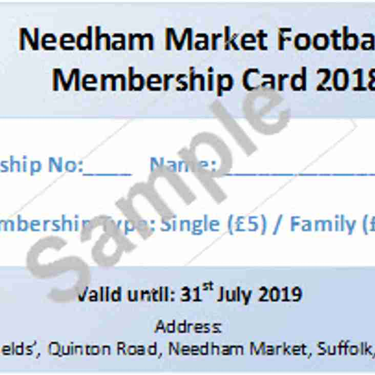 The 2018-19 Needham Market Football Club Membership is now available