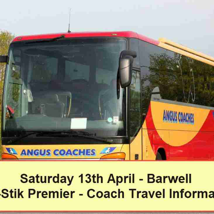 Coach travel to Barwell on Saturday 13th April – Seats available