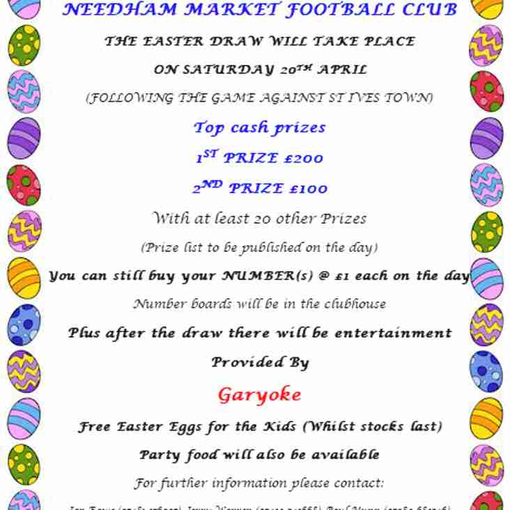 Details regarding Saturday's Easter Draw