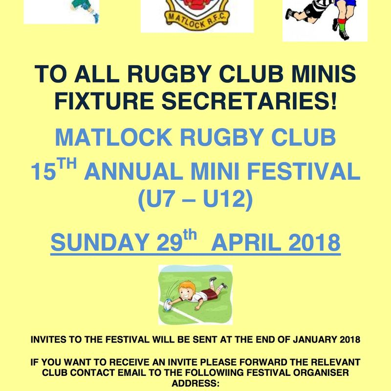 Matlock Annual Mini Festival - Sunday 29th April 2018