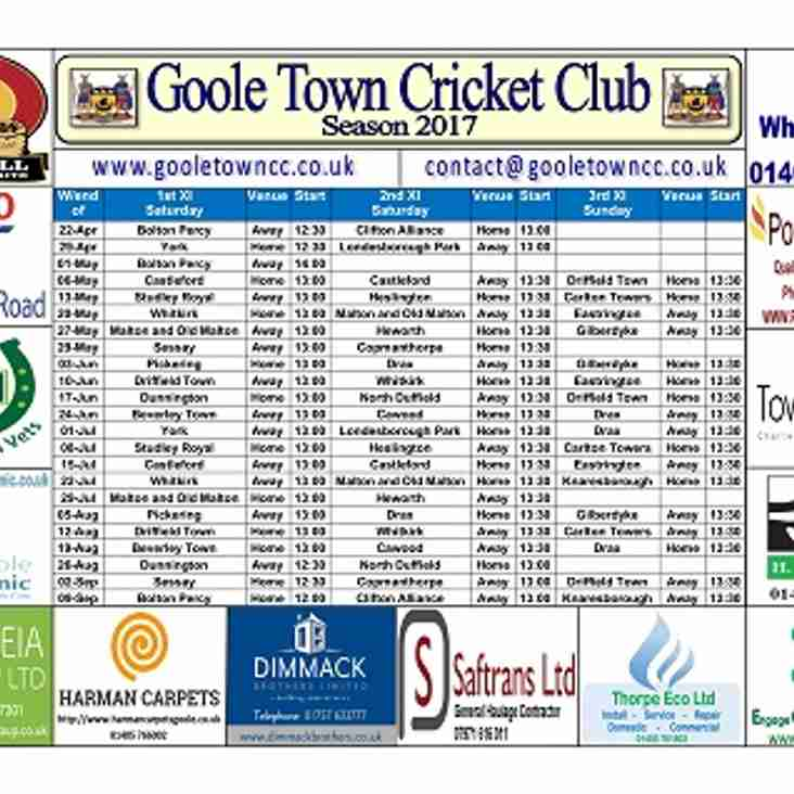 Senior Fixture Cards are Now Available from the Club