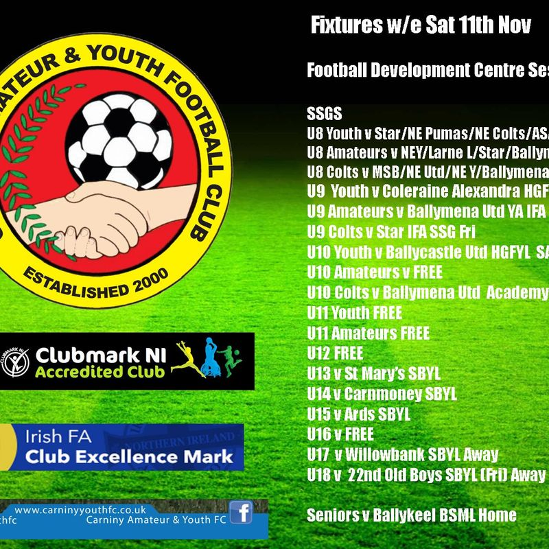 SCHEDULED FIXTURES FOR THE WEEKEND 11th NOV 17