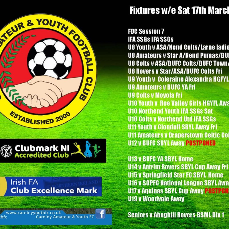 WEEKEND FIXTURES W/E 17TH MARCH 2018