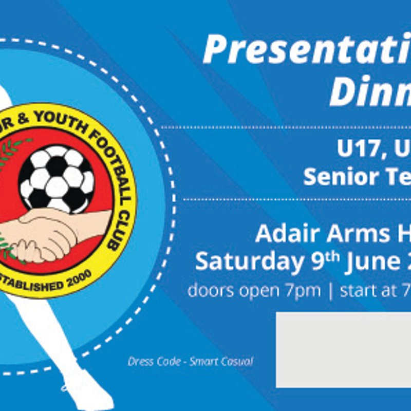 PRESENTATION DINNER AND AWARDS - SENIOR TEAMS - SAT 9TH JUNE 2018