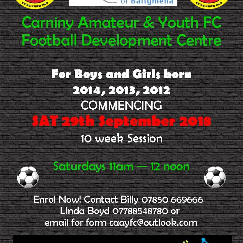 FOOTBALL DEVELOPMENT CENTRE RETURNS 29/09/18