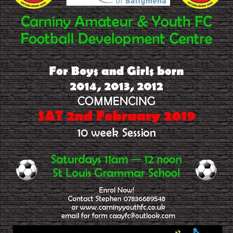FOOTBALL DEVELOPMENT CENTRE RECOMMENCES SAT 2ND FEBRUARY
