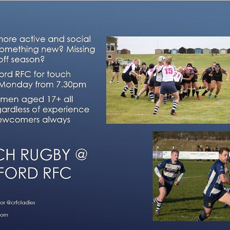 CRFC to run touch rugby sessions in addition to the full range of contact teams