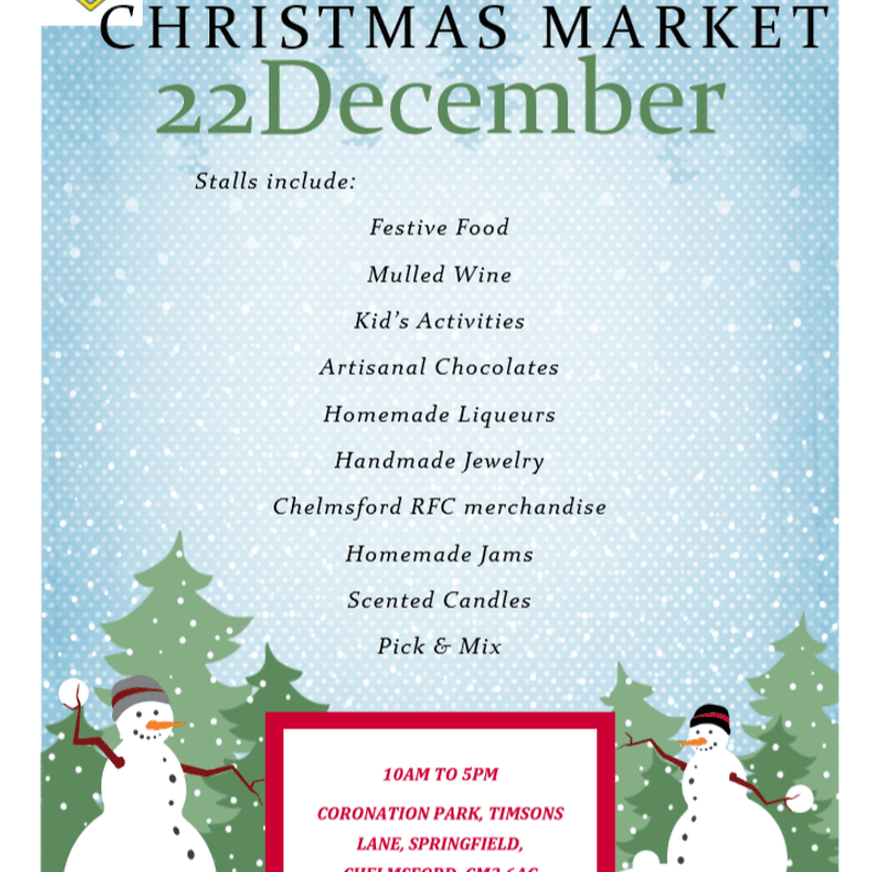 Chelmsford RFC to host Christmas Market on 22nd December 2018