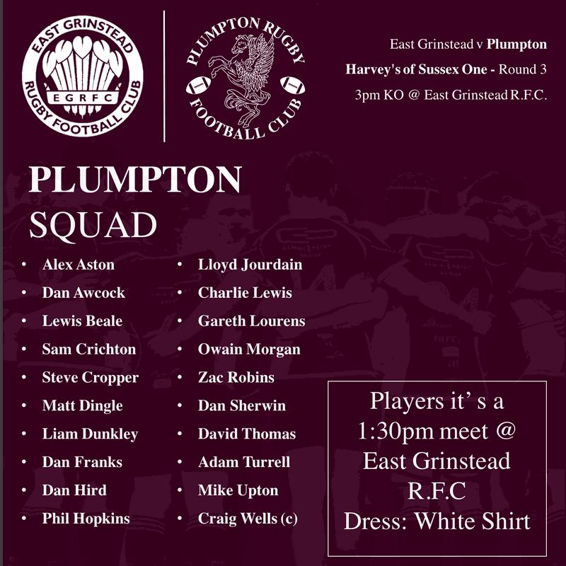 East Grinstead v Plumpton - Squad Announcement