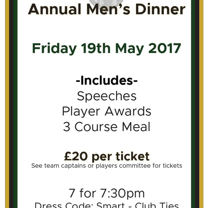 Annual Men's Club Dinner - 19th May