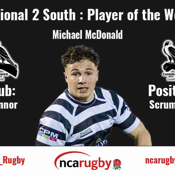 NCA Rugby National League Two South player of the week