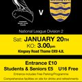 Our next home match v Worthing Raiders Saturday 20 January