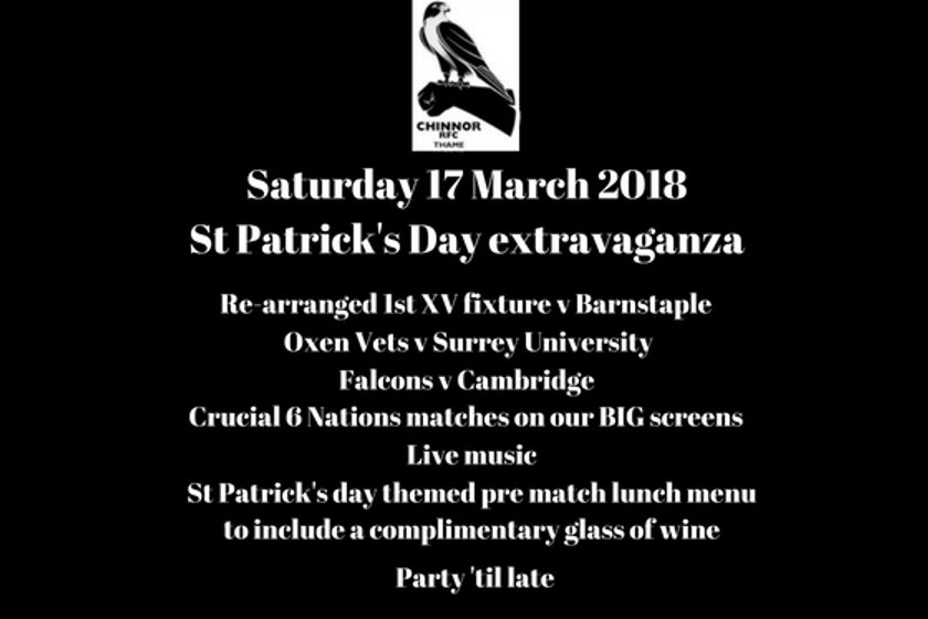 Re arranged 1st XV fixture v Barnstaple-pre match lunch and St Patrick's Day Celebrations
