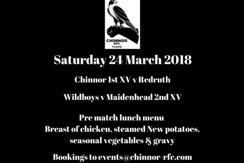 Chinnor 1st XV v Redruth and match day luncheon