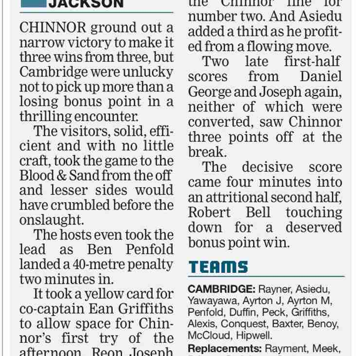 Cambridge v Chinnor The Rugby Paper match report courtesy of Steve Jackson