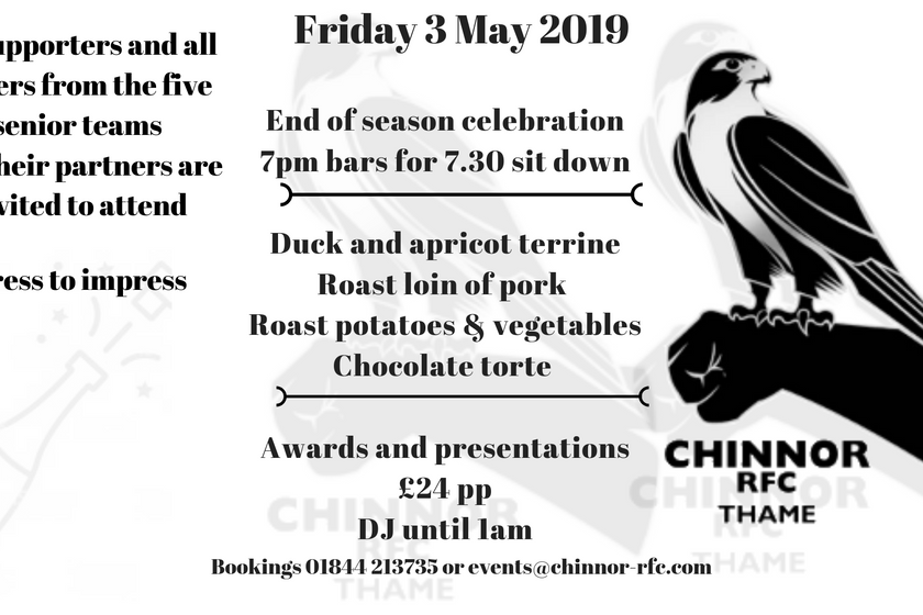 End of season celebration dinner Friday 3 May 2019