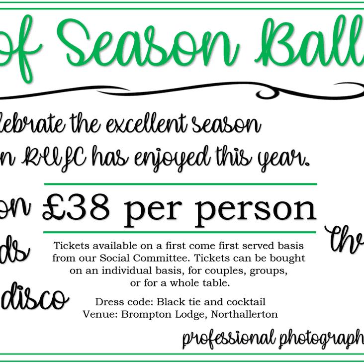 End of Season Ball 2018 - Ticket Deadline