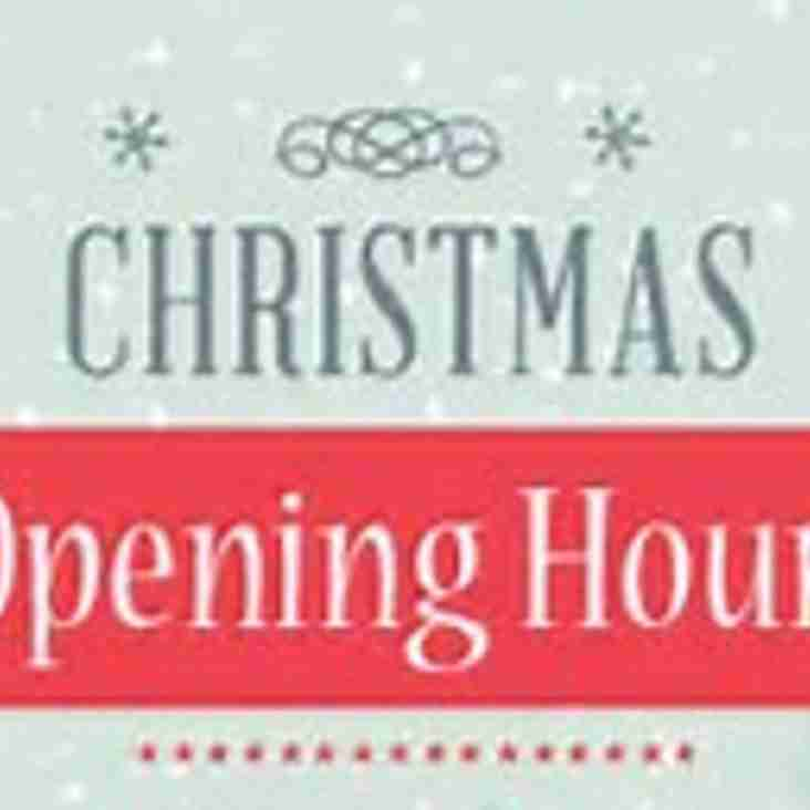 SUFC Facility Christmas Opening Hours