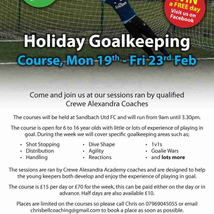 Feb Half Term Goalkeeping Course @Sandbach United FC