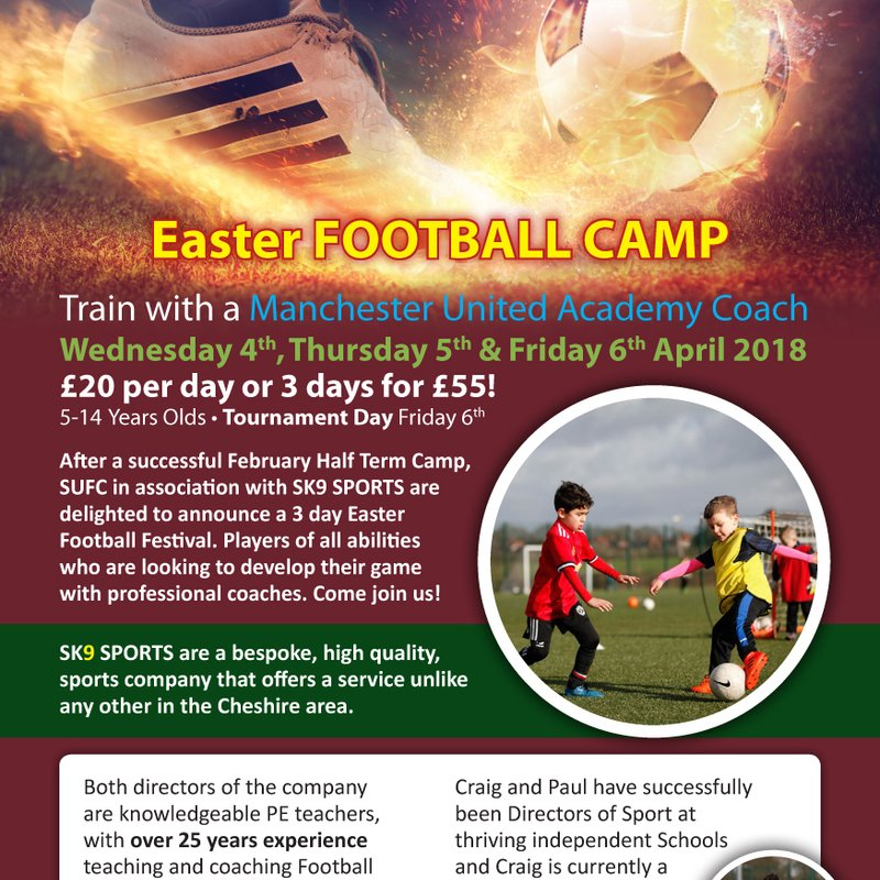 Easter football camp with SK9 ! Wednesday 4th, Thursday 5th and Friday 6th April