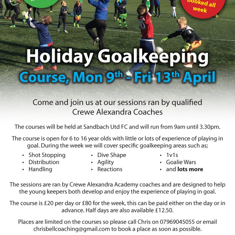 Easter Goalkeeping Camp with Chris Bell.