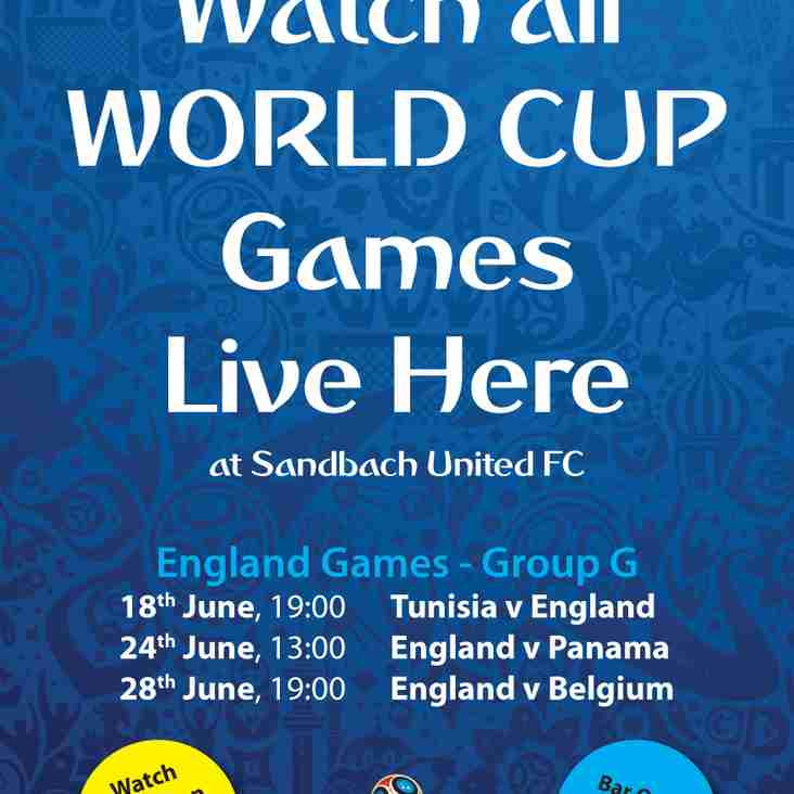 Watch all World Cup games here live at the club!