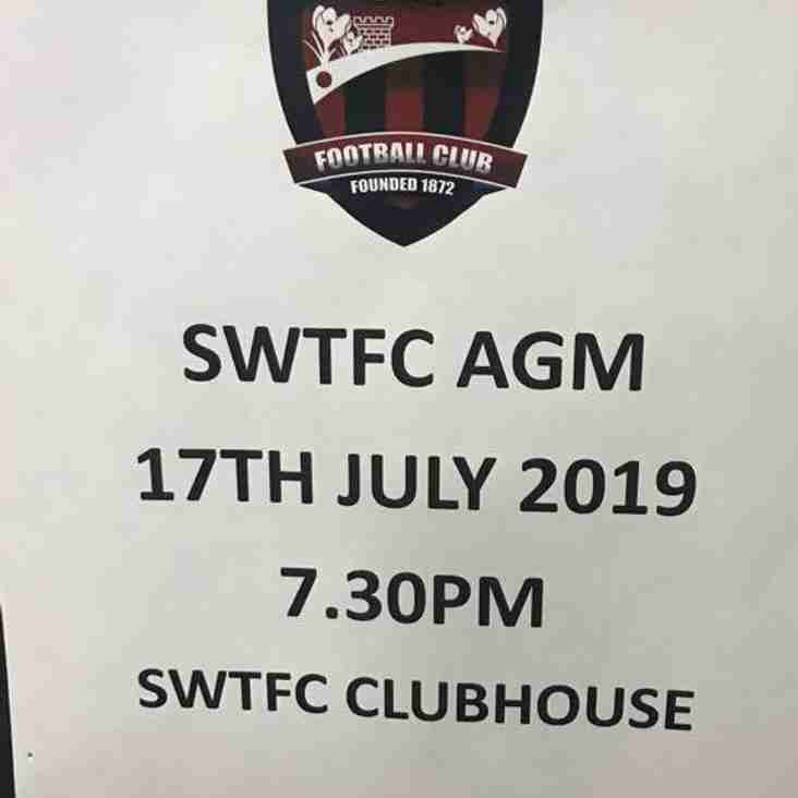 SWTFC AGM 17TH JULY 2019 7.30PM AT SWTFC CLUBHOUSE