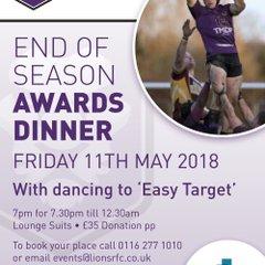 End of Season Awards Dinner 11th May