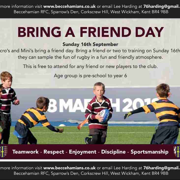 Bring a Friend Day & Saracens Player Visit– 16th September