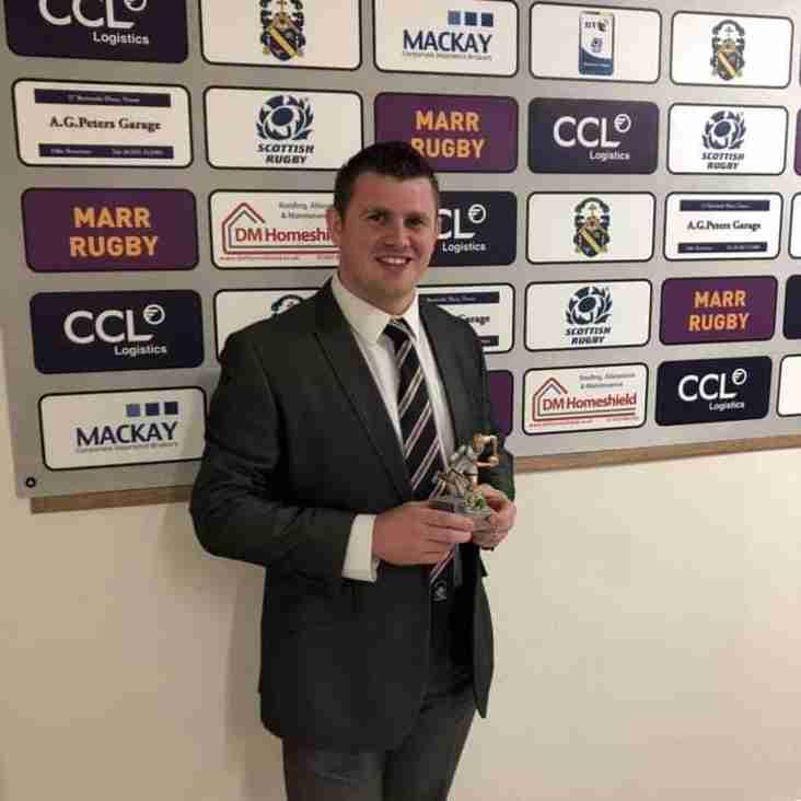 Stephen lifts the Alan Crosbie Award