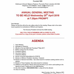 AGM and Presentation night notices