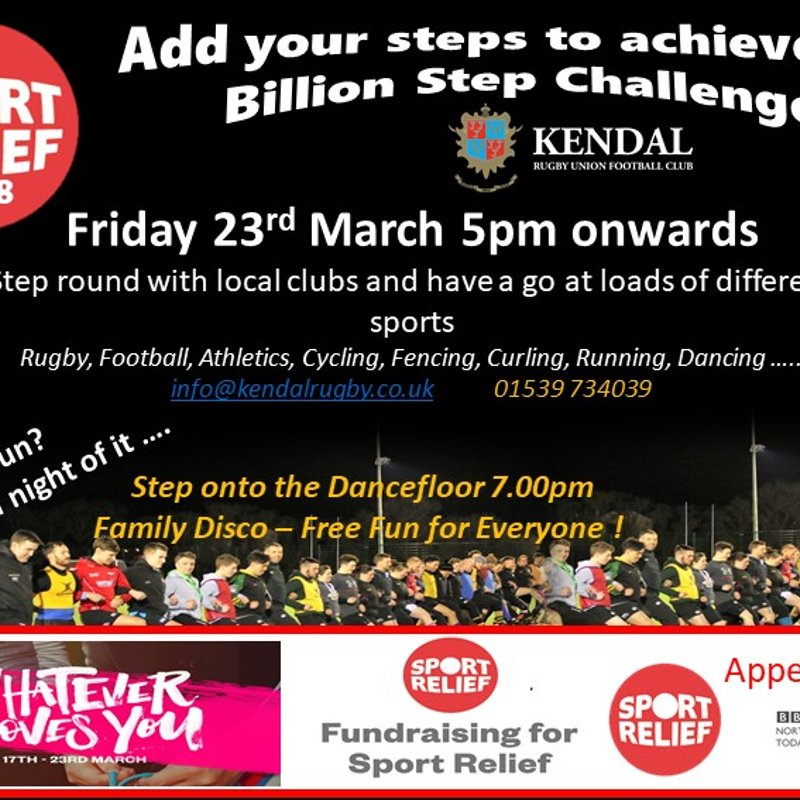 Sport Relief Challenge - The 'BIG STEP from Kendal' Friday 23 March 2018