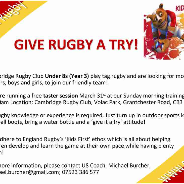 Give Rugby a Try with Cambridge Under 8s