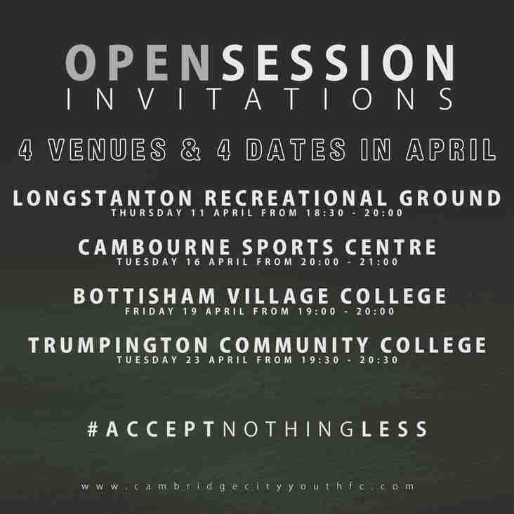 Open Session Announcement | 4 Venues - 4 Dates in April