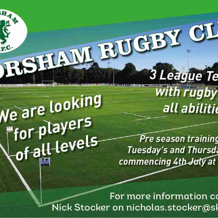 Pre season training starts on Thursday 4th July