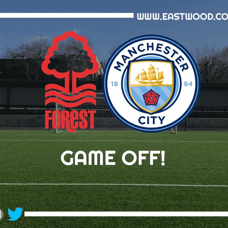 GAME POSTPONED - Nottingham Forest U15's vs. Manchester City U15's