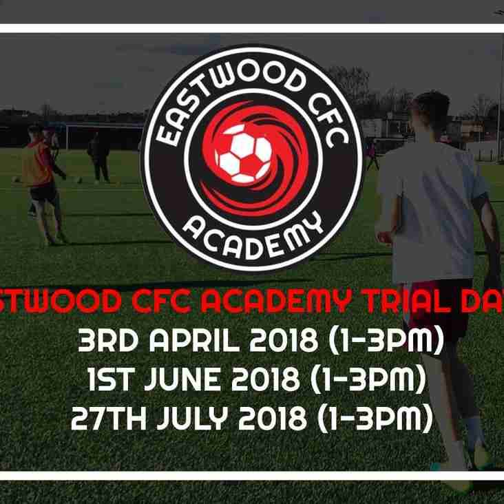 Eastwood CFC & JP11 Academy Trial Dates