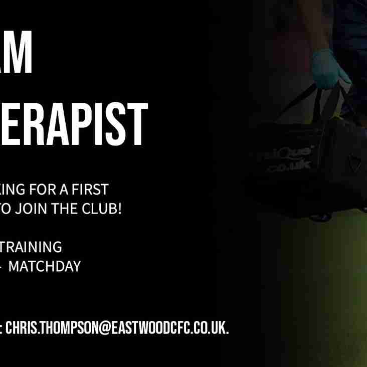 First Team Physio Needed!
