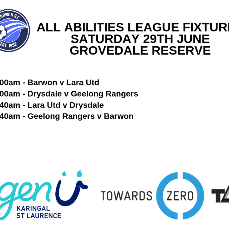 All Abilities Games at Grovedale Reserve this Saturday morning
