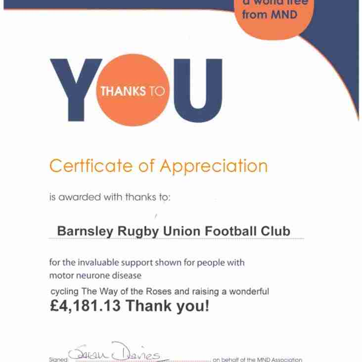 Barnsley RUFC T'Tour 2018 raises over £4000 for Motor Neurone Disease