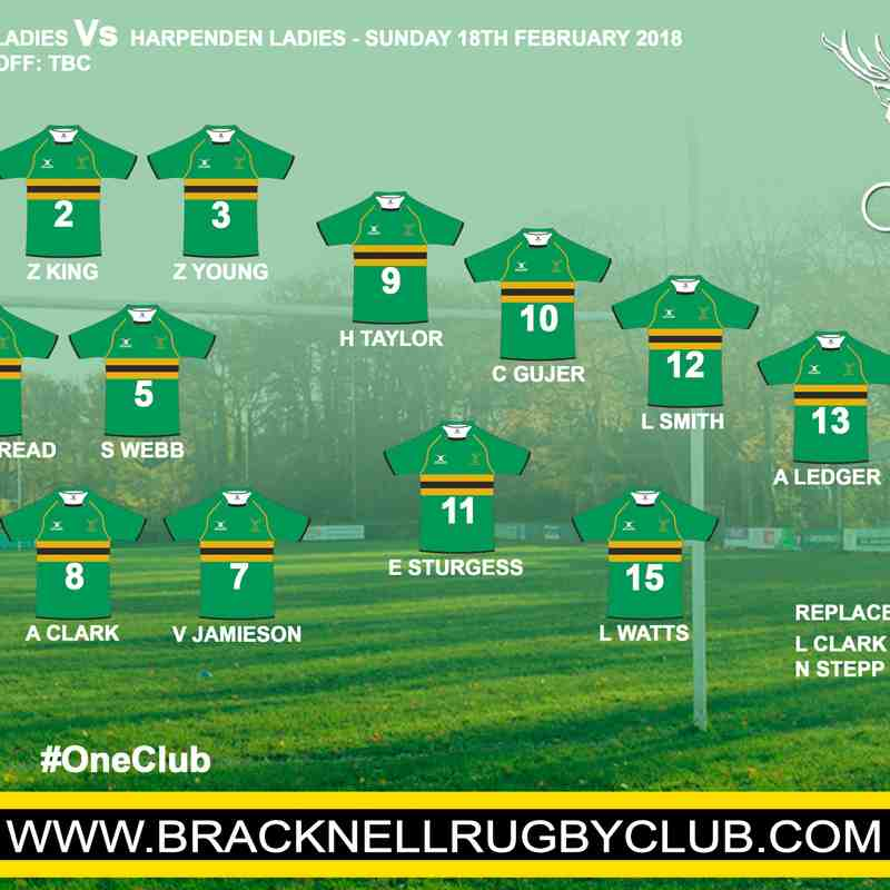 Bracknell Ladies Vs Harpenden Ladies 18/02/2018