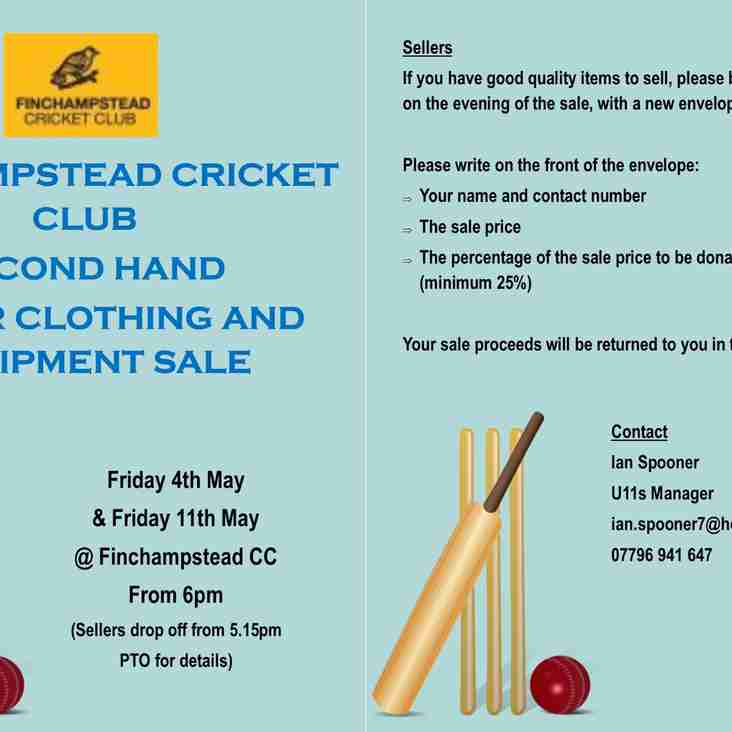 Second hand junior clothing and equipment sale