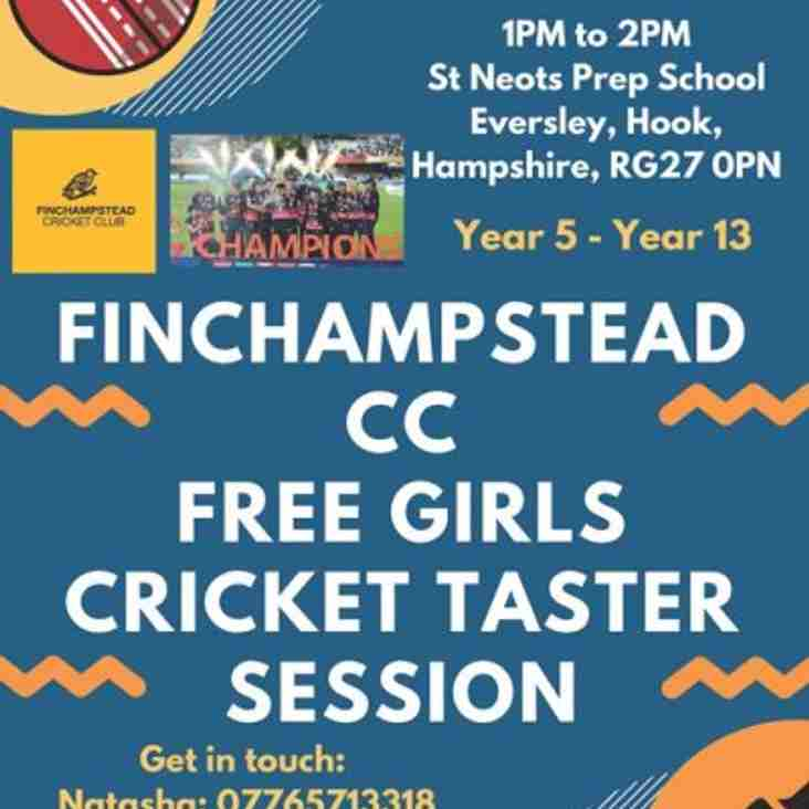 Free girls cricket taster session on 29th April