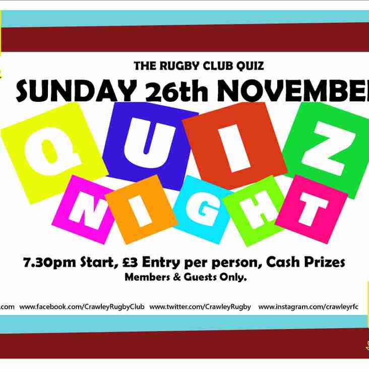 The 5th Quiz night! - Sunday 26th November 7:30pm (even more cash prizes)!